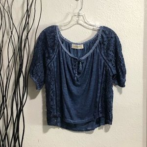 Abercrombie & Fitch Blue Lace Sides Top Size M